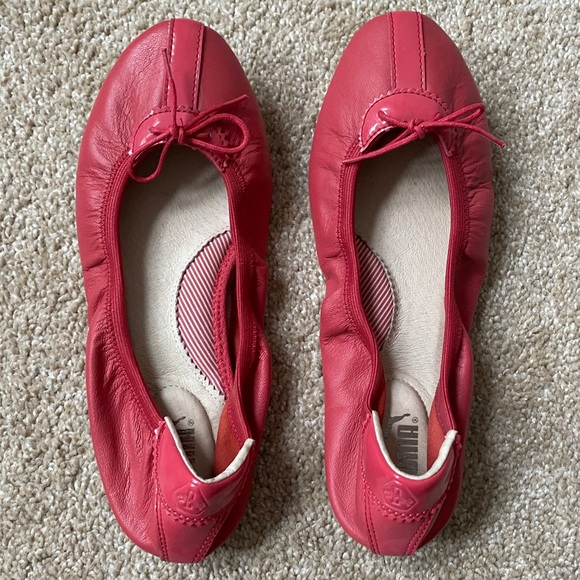 Puma Red Leather Ballet Flats Size 6.5